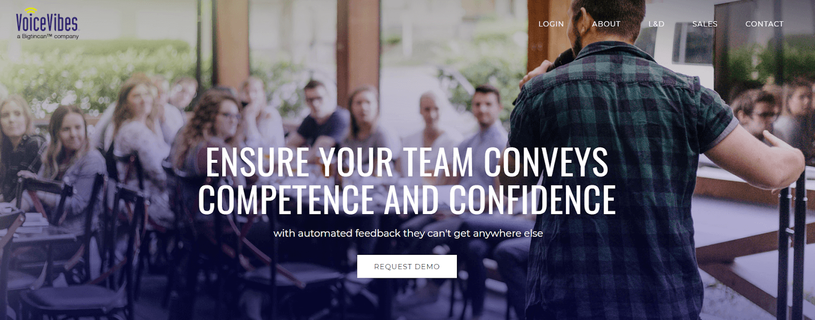 VocalVibes homepage: Ensure your team conveys competence and confidence