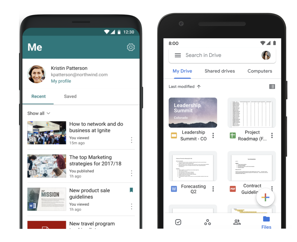 Mobile Content Management Solutions: Microsoft Sharepoint and Google Drive are shown here